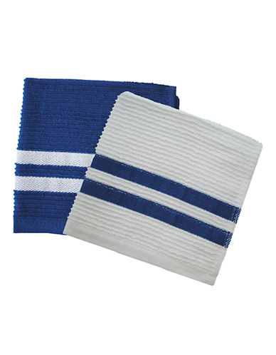 Jamie Oliver Set of 2 Terry Ribbed Dish Cloths-BLUE-13 x 13 Inches