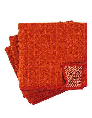 Jamie Oliver Set of 3 Microfiber Scrubbers-ORANGE-One Size