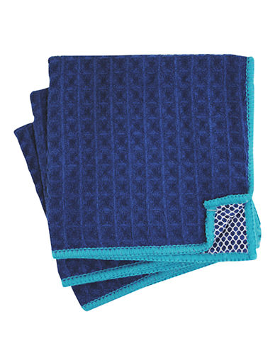 Jamie Oliver Set of 3 Microfiber Scrubbers-BLUE-One Size