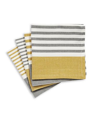 Jamie Oliver Set of Four Striped Cotton Napkins-YELLOW-One Size