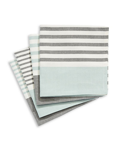 Jamie Oliver Set of Four Striped Cotton Napkins-BLUE-One Size