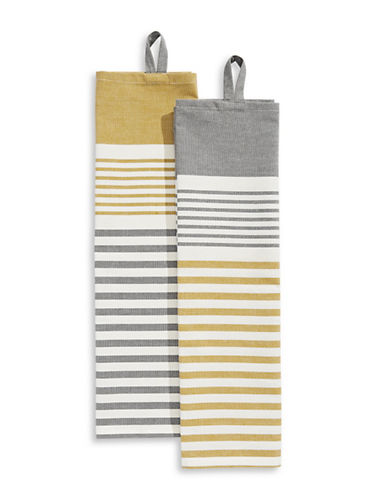 Jamie Oliver Two-Pack Striped Cotton Tea Towels-YELLOW-One Size
