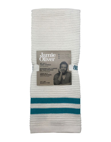 Jamie Oliver Two-Pack Ribbed Tea Towels-BLUE-One Size