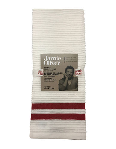 Jamie Oliver Two-Pack Ribbed Tea Towels-RED-One Size