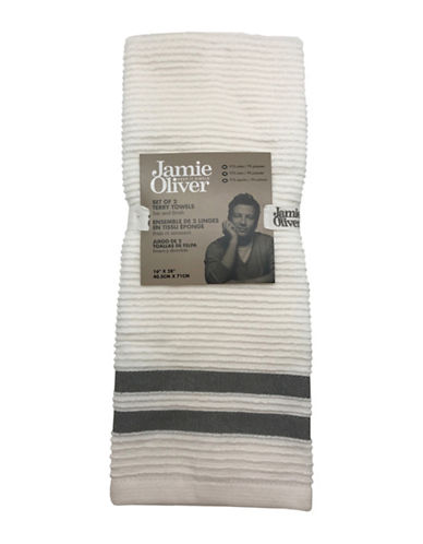 Jamie Oliver Two-Pack Ribbed Tea Towels-GREY-One Size