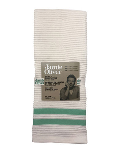 Jamie Oliver Two-Pack Ribbed Tea Towels-GREEN-One Size