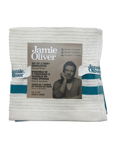 Jamie Oliver Two-Pack Ribbed Dishcloths-BLUE-13 x 13 Inches