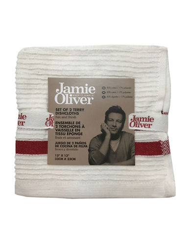 Jamie Oliver Two-Pack Ribbed Dishcloths-RED-13 x 13 Inches
