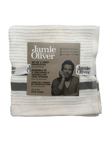 Jamie Oliver Two-Pack Ribbed Dishcloths-GREY-13 x 13 Inches