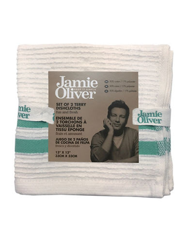 Jamie Oliver Two-Pack Ribbed Dishcloths-GREEN-13 x 13 Inches