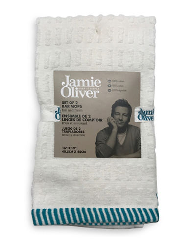 Jamie Oliver Two-Pack Terry Bar Mops-BLUE-16 x 19 Inches