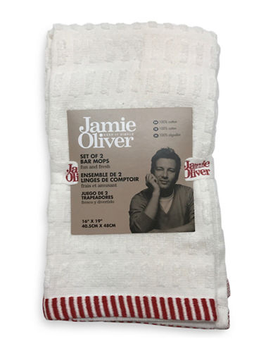 Jamie Oliver Two-Pack Terry Bar Mops-RED-16 x 19 Inches