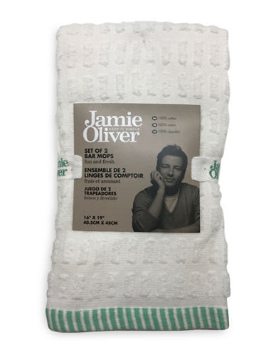 Jamie Oliver Two-Pack Terry Bar Mops-GREEN-16 x 19 Inches