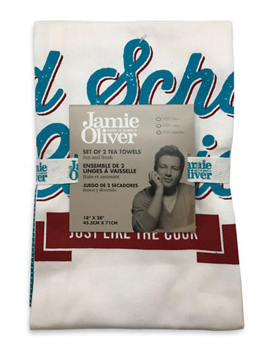 Jamie Oliver Two-Pack Graphic Tea Towels-BLUE-18x28
