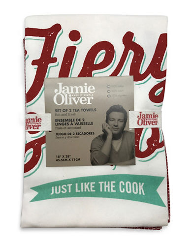 Jamie Oliver Two-Pack Graphic Tea Towels-RED-18x28