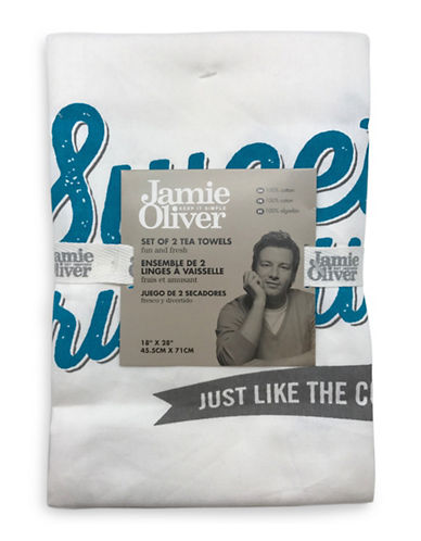 Jamie Oliver Two-Pack Graphic Tea Towels-GREY-18x28