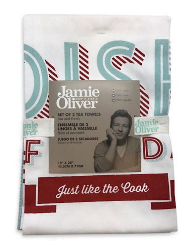 Jamie Oliver Two-Pack Graphic Tea Towels-GREEN-18x28
