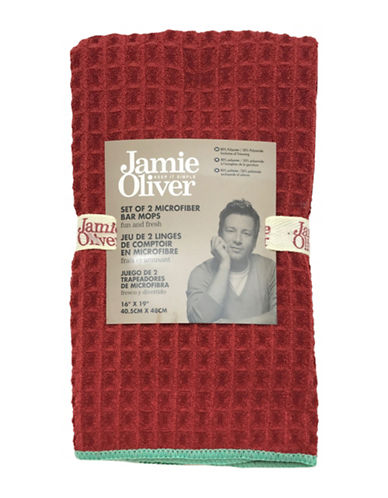 Jamie Oliver Two-Pack Microfibre Bar Mops-RED-16 x 19 Inches