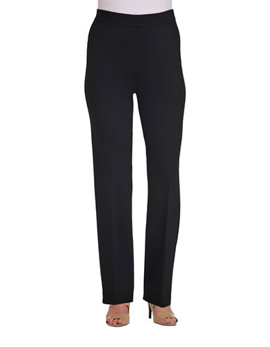 Allison Daley Straight Leg Ponte Pants-BLACK-Medium