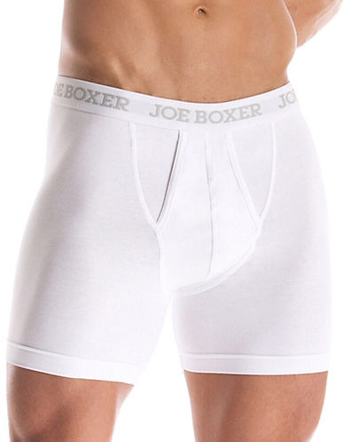 Joe Boxer Two Pack of Classic Fit Boxer Briefs-WHITE-Large