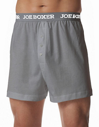 Joe Boxer Classic Fit Cotton Loose Boxer 2 Pack-GREY-Medium