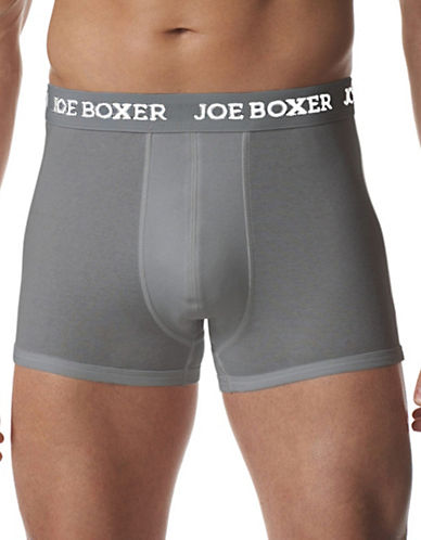 Joe Boxer 2 Pack Classic Fit Cotton Trunks-GREY-Large