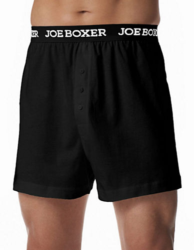 Joe Boxer Classic Fit Cotton Loose Boxer 2 Pack-BLACK-Large