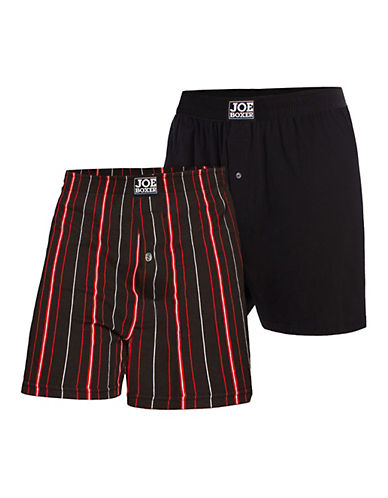 Joe Boxer Two Pack of Loose Fit Boxers-BLACK/RED-X-Large