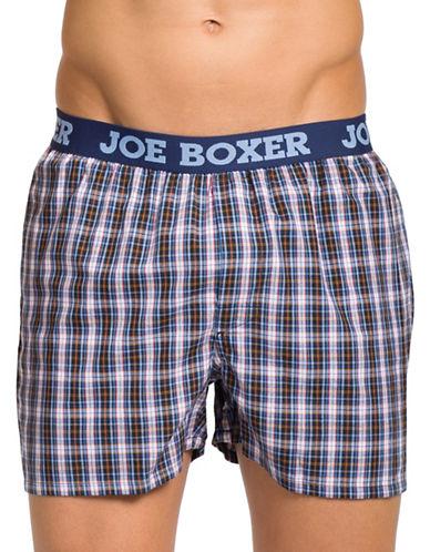 Joe Boxer Poplin Boxer Briefs-BLUE/RED-Small