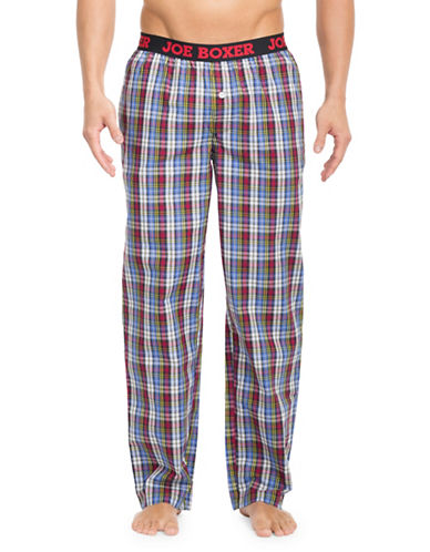 Joe Boxer Plaid Patterned Cotton Poplin Pants-RED/BLUE-Small