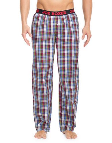 Joe Boxer Plaid Patterned Cotton Poplin Pants-RED/BLUE-Large