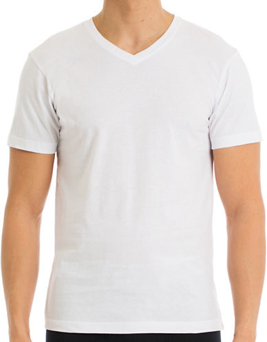 Joe Boxer Four-Pack V-Neck Cotton T-Shirts-WHITE-Small