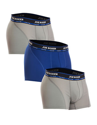Joe Boxer Tech Three-Pack Trunks-GREY-Small