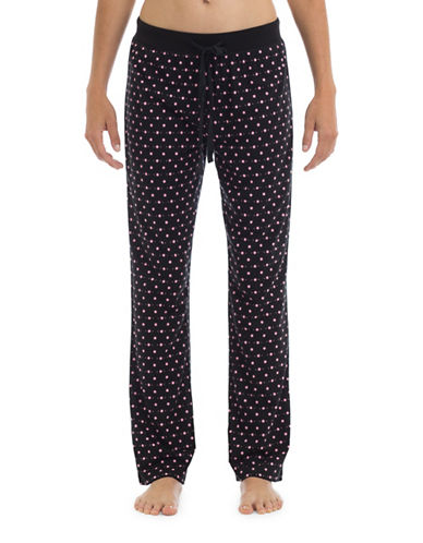 Joe Boxer Polka Dot Knit Pants-BLACK/PINK-Small