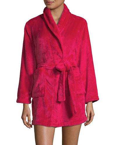 Joe Boxer Open Front Fleece Robe-RED-Medium
