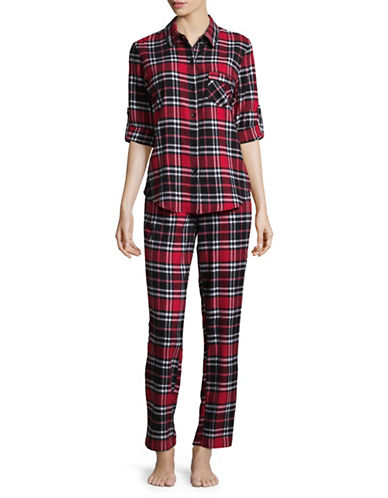 Joe Boxer Cotton Plaid Flannel Pyjamas-RED-Medium