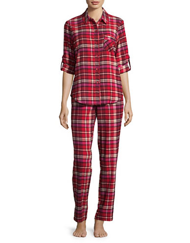 Joe Boxer Cotton Plaid Flannel Pyjamas-PINK-Medium