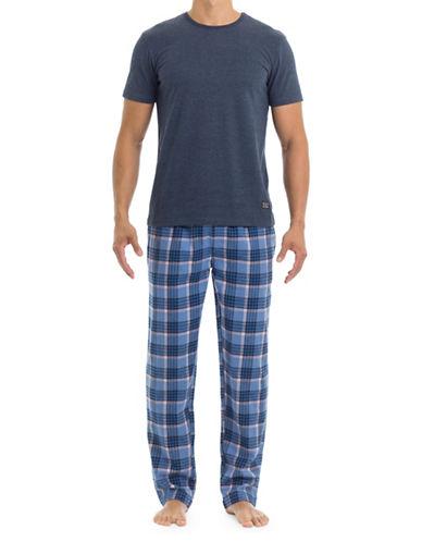 Ben Sherman Two-Piece Cotton Tee & Flannel Pants Set-MULTI-COLOURED-Medium