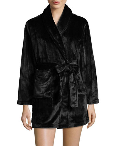 Joe Boxer Open Front Fleece Robe-BLACK-Medium