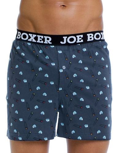 Joe Boxer Rock and Roll Cotton Boxer Shorts-MULTI-COLOURED-Small