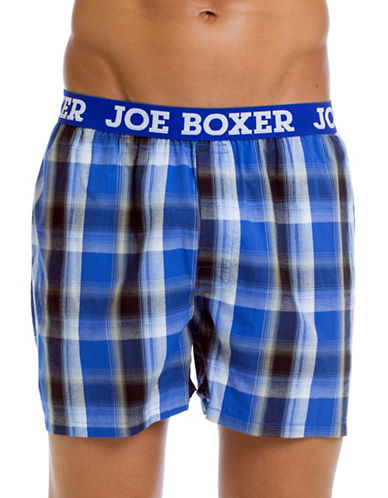 Joe Boxer Yarn Dyed Poplin Plaid Boxers-LIGHT BLUE-Small