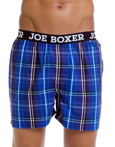 Joe Boxer Yarn Dyed Poplin Plaid Boxers-BLUE-Large