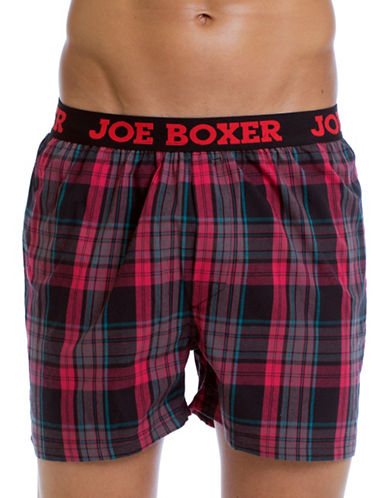 Joe Boxer Yarn Dyed Poplin Plaid Boxers-RED-Medium