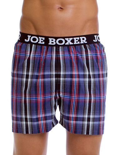 Joe Boxer Yarn Dyed Poplin Plaid Boxers-GREY-Small