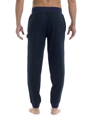 Joe Boxer Flannel Cotton Plaid Joggers-BLUE-Small