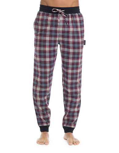 Joe Boxer Flannel Cotton Plaid Joggers-RED-Small
