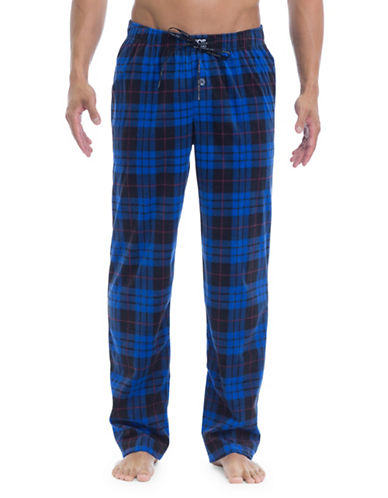 Joe Boxer Plaid Microfleece Lounge Pants-BLUE-Small