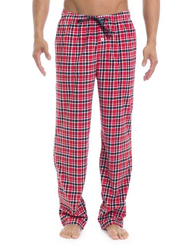 Joe Boxer Plaid Microfleece Lounge Pants-RED-Small