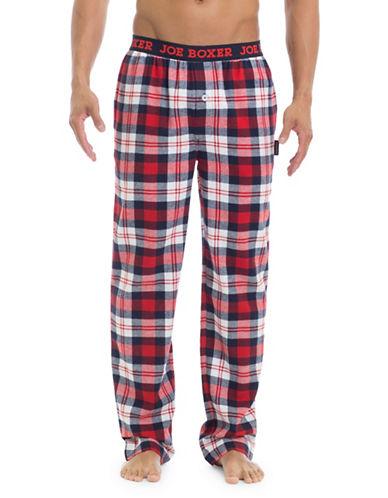 Joe Boxer Plaid Straight Pants-RED-X-Large