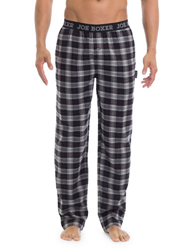 Joe Boxer Plaid Straight Pants-GREY-Small